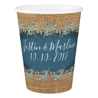 Burlap & Lace & bows Wedding or Anniversary Cups