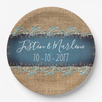 Burlap & Lace & bows Wedding or Anniversary Plates