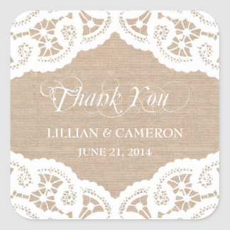 Burlap Lace Doily Thank You Name Stickers