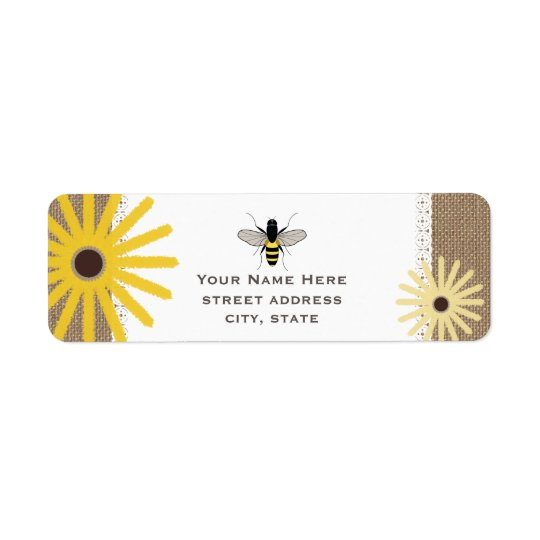 Burlap & Lace Inspired Black Eyed Susans Bee Label