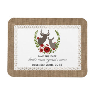 Burlap + Lace Inspired Deer Christmas Save Date Rectangular Photo Magnet