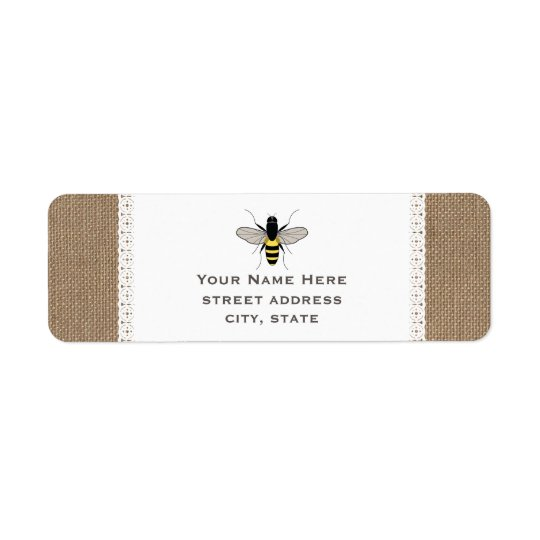 Burlap & Lace Inspired Honey Bee Address Label