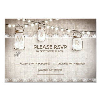 burlap lace lights & mason jar wedding RSVP card 9 Cm X 13 Cm Invitation Card