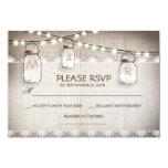 burlap lace lights & mason jar wedding RSVP card 9 Cm X 13 Cm Invitation Card