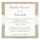 Burlap & Lace Mint Customisable Bridal Shower Invites