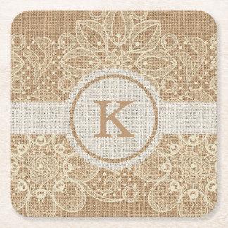 Burlap & Lace Monogram Coaster