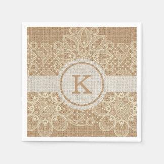 Burlap & Lace Monogram Disposable Napkins