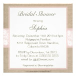 Burlap & Lace Pink Customizable Bridal Shower Invitations