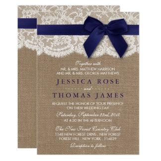 Burlap, Lace, Ribbon & Bow Rustic Wedding - Navy Card