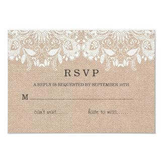 "Burlap & Lace RSVP Card 3.5"" X 5"" Invitation Card"