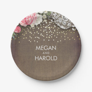 Burlap Lace Rustic Country Floral Wedding 7 Inch Paper Plate