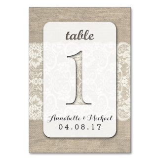 Burlap Lace Rustic Wedding Table Number Card 1 Table Card