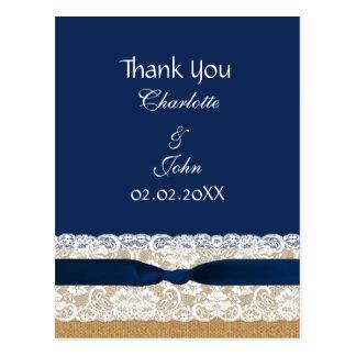 burlap lace, rustic wedding Thank You Postcard