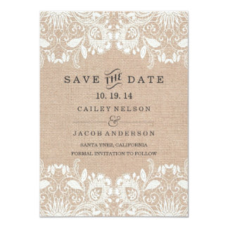 Burlap & Lace Save The Date Card