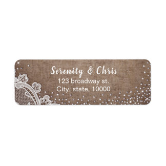Burlap Lace silver glitter rustic country Wedding Return Address Label