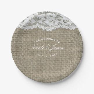 Burlap & Lace Simple Rustic Elegant Wedding Custom Paper Plate