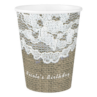 Burlap & Lace Simple Rustic Elegant Wedding Paper Cup