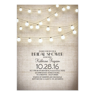 burlap lace string lights rustic bridal shower 5x7 paper invitation card