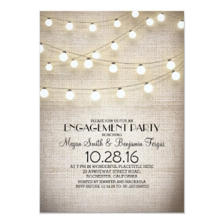 burlap lace string lights rustic engagement party card