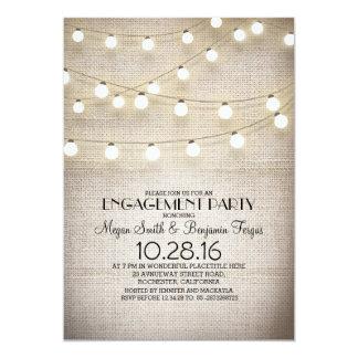 burlap lace string lights rustic engagement party 13 cm x 18 cm invitation card