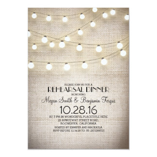 burlap lace string lights rustic rehearsal dinner card