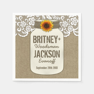 Burlap Lace Sunflower Mason Jar Wedding Napkins Disposable Napkin