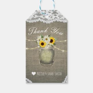 Burlap Lace Sunflowers & Daisies Mason Jar Rustic Gift Tags