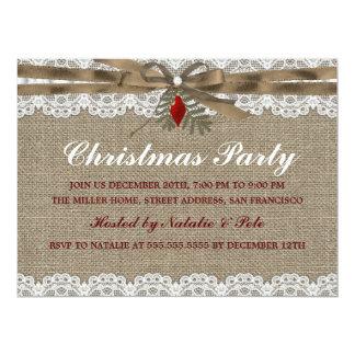 Burlap & Lace Vintage Christmas Party Invite