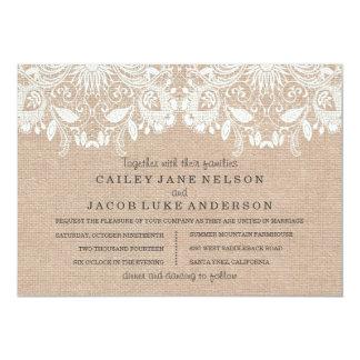 "Burlap & Lace Wedding Invitation 5"" X 7"" Invitation Card"