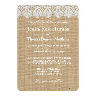 Burlap & Lace Wedding Invitations Cards