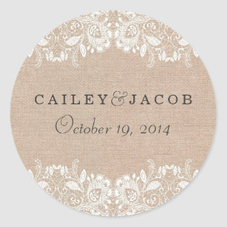 Burlap Lace Wedding Sticker