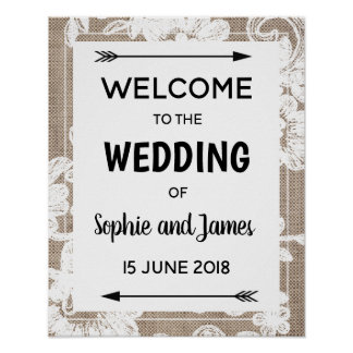 Burlap Lace Wedding Welcome Sign