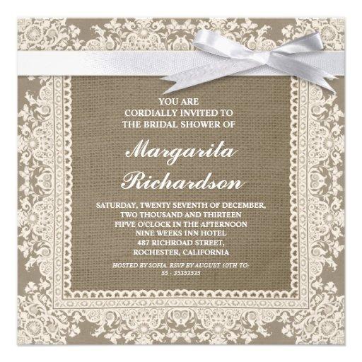 burlap lace & white ribbon bridal shower invites