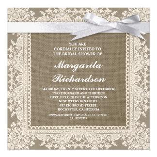 burlap lace white ribbon bridal shower invites