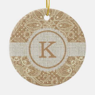 Burlap & Lace with Monogram Ceramic Ornament