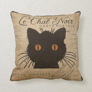 Burlap Le Chat Noir French The Black Cat Cushion