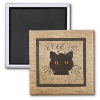 Burlap Le Chat Noir French The Black Cat Fridge Magnets