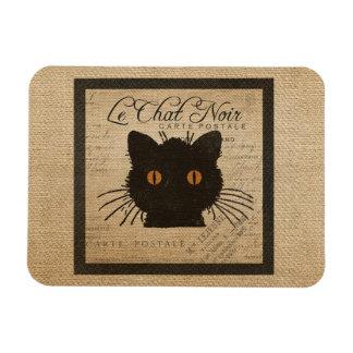 Burlap Le Chat Noir French The Black Cat Flexible Magnets