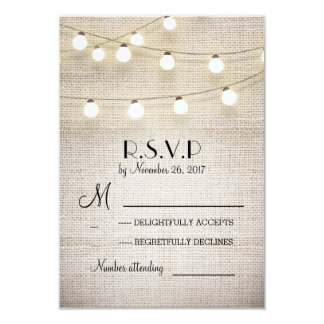 burlap lights rustic elegant wedding RSVP cards