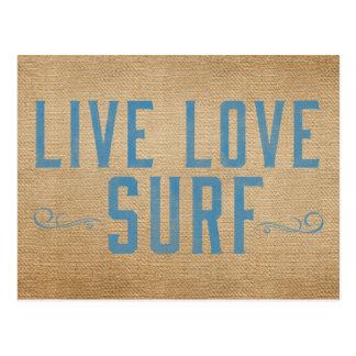 Burlap Live Love Surf Postcard