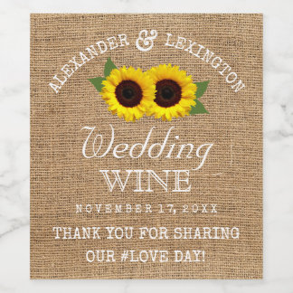 Burlap Look and Sunflowers Rustic Country Wedding Wine Label