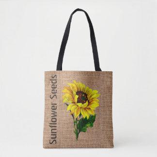 Burlap Look Sunflower Tote Bag