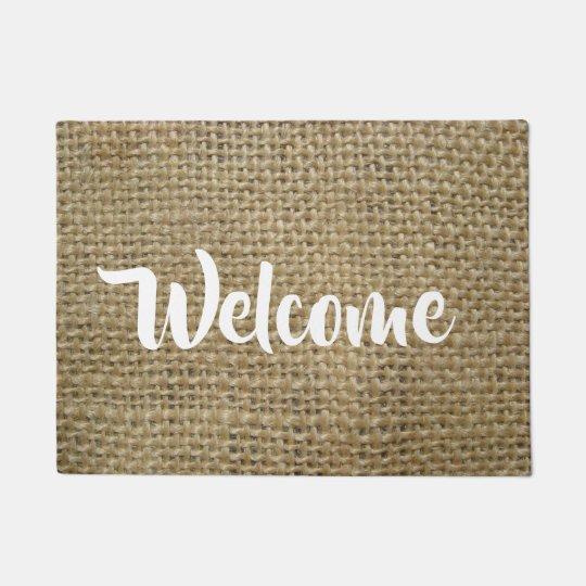 Burlap Look Welcome Doormat