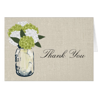 Burlap Mason Jar and Hydrangeas Card