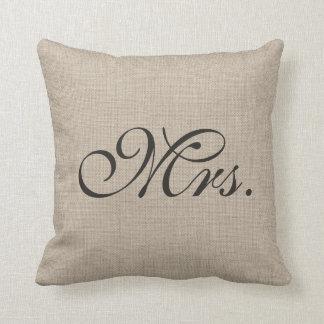 Burlap Mrs. Pillow