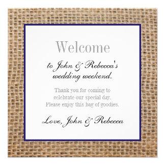 Burlap & Navy Blue Wedding Welcome Card 13 Cm X 13 Cm Square Invitation Card