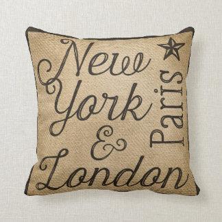 Burlap New York Paris London Cushion