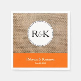 Burlap & Orange Monogrammed Wedding Disposable Napkin