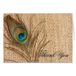 Burlap Peacock Feather Thank You Note Card