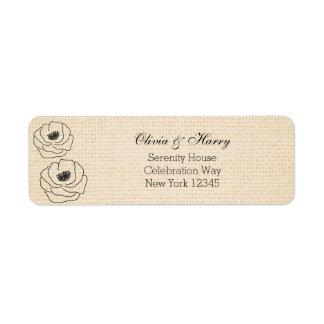 Burlap Peonies Wedding Return Address Labels